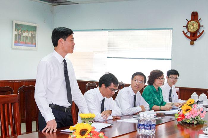 Đ/c Dương Thế Nam, Chủ tịch Công đoàn, Trưởng Ban Tổ chức Đảng ủy VMS-South phát biểu tại cuộc họp