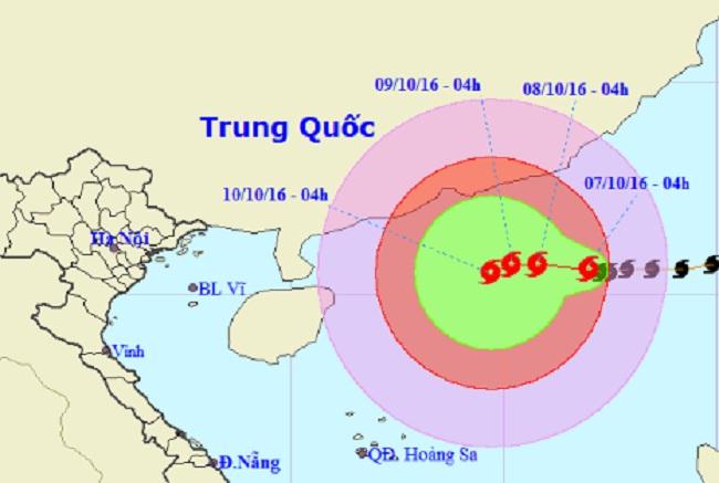 Vị trí và hướng di chuyển của bão Aere ngoài Biển Đông. Ảnh Trung tâm Dự báo KTTVTƯ