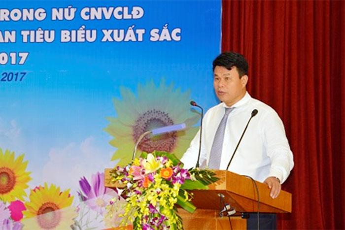 Đ/c Đỗ Nga Việt, Ủy viên Ban Cán sự Đảng Bộ GTVT, Ủy viên BCH Tổng Liên đoàn Lao động Việt Nam,Chủ tịch Công đoàn GTVT Việt Nam phát biểu tại Hội nghị.