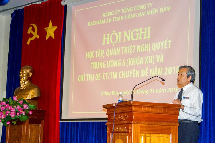 Đ/c Phạm Đăng Lâu, Phó Bí thư Thường trực Đảng ủy Tổng công ty phát biểu tại Hội nghị
