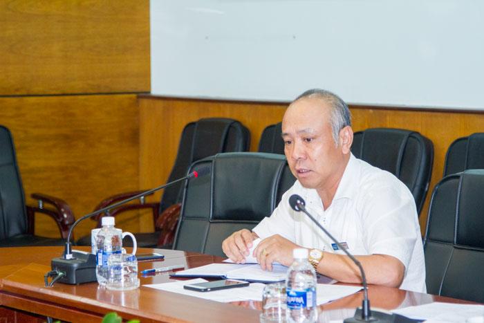 Ông Bùi Thế Hùng, TGĐ Tổng công ty Bảo đảm an toàn hàng hải miền Nam phát biểu tại cuộc họp trực tuyến
