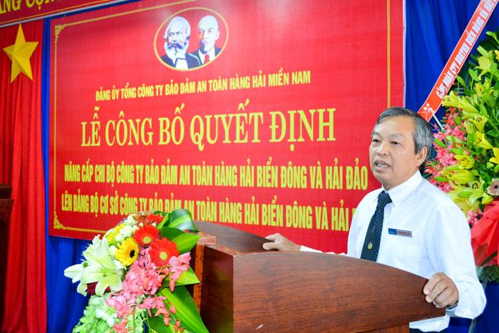 Đ/c Phạm Đăng Lâu, Phó Bí thư Thường trực Đảng ủy Tổng công ty phát biểu chỉ đạo tại Lễ Công bố Quyết định.