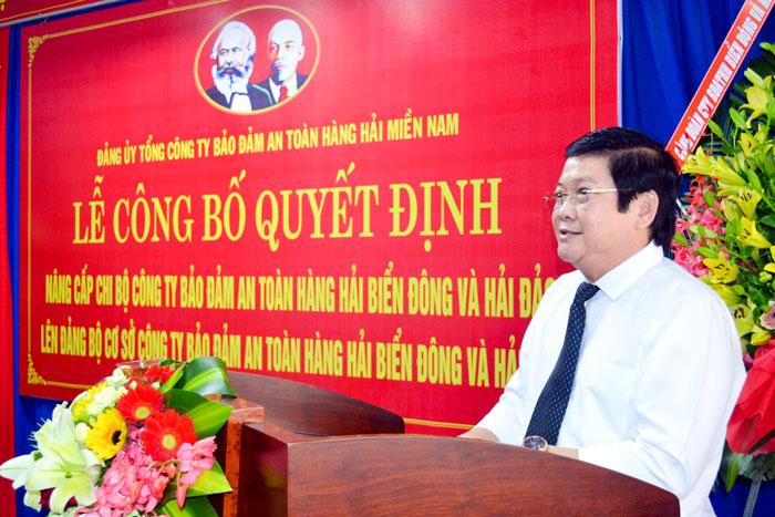 Đ/c Đặng Quốc Cường, Bí thư Chi bộ Công ty Bảo đảm an toàn hàng hải Biển Đông và Hải đảo phát biểu tại Lễ Công bố Quyết định.