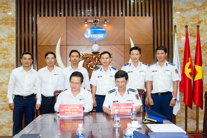 Tổng công ty Bảo đảm an toàn hàng hải miền Nam và Bộ Tư lệnh Vùng Cảnh sát biển 3 ký Hiệp đồng phối hợp thực hiện nhiệm vụ bảo vệ chủ quyền biển, đảo.