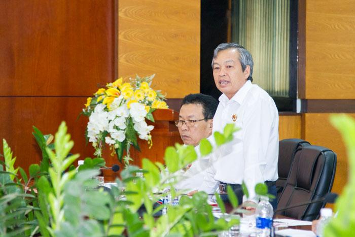 Đ/c Phạm Đăng Lâu, Ủy viên BCH Hội CCB tỉnh, Chủ tịch Hội CCB Tổng công ty phát biểu tại Hội nghị