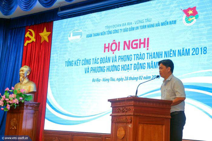 Đ/c Lê Văn Minh, Bí thư Tỉnh đoàn BR-VT phát biểu tại Hội nghị