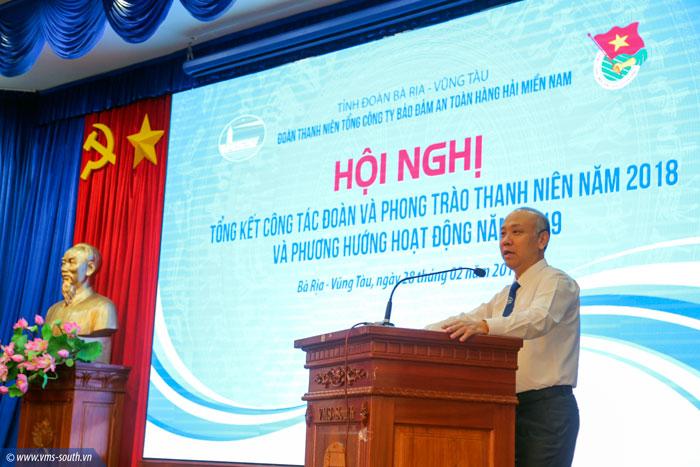 Đ/c Bùi Thế Hùng, Bí thư Đảng ủy, TGĐ VMS-South phát biểu tại Hội nghị