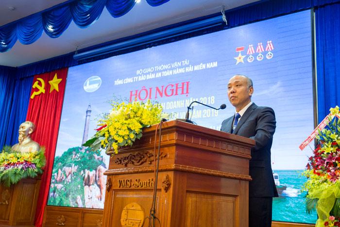 Ông Bùi Thế Hùng, TGĐ Tổng công ty phát biểu tại Hội nghị
