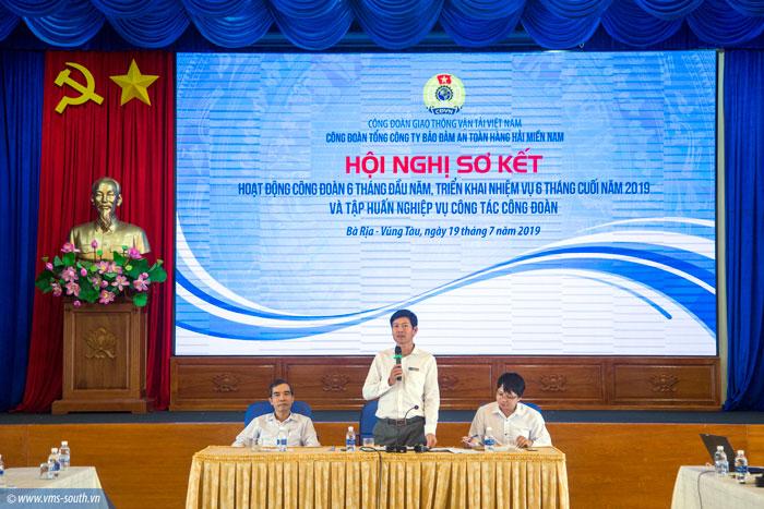 Đ/c Dương Thế Nam, Chủ tịch Công đoàn VMS-South phát biểu tại Hội nghị