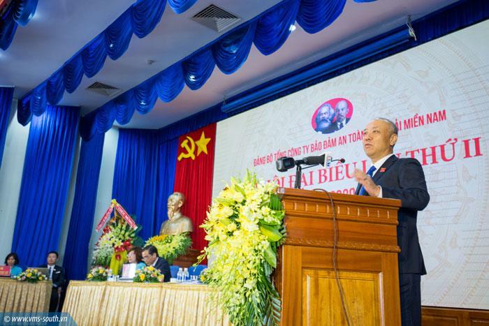 Đồng chí Bùi Thế Hùng, Bí thư Đảng ủy, Tổng giám đốc VMS-South quán triệt tinh thần của đại hội lần II, nhiệm kỳ 2020 - 2025.