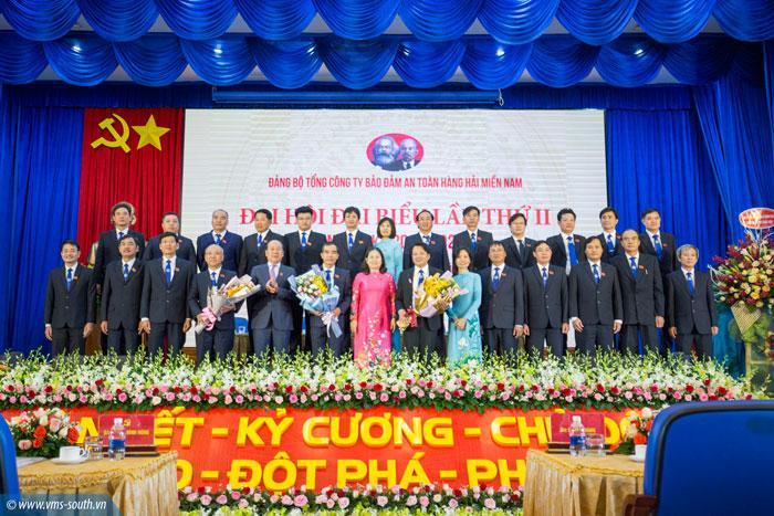 Ban chấp hành Đảng bộ VMS-South nhiệm kỳ 2020 - 2025 và đoàn đại biểu đi dự Đại hội đại biểu tỉnh Bà Rịa - Vũng Tàu lần thứ VII ra mắt đại hội.