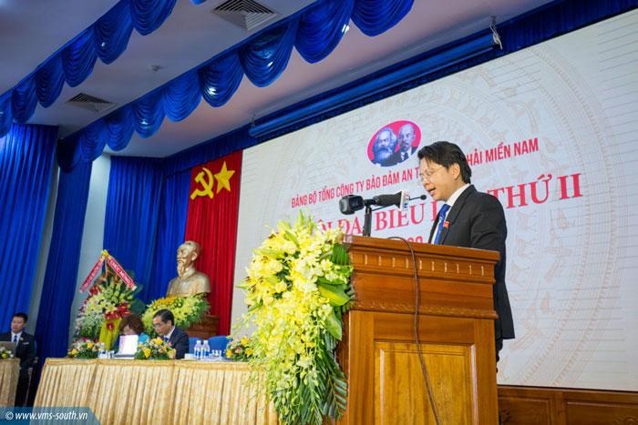 Đồng chí Phạm Quang Giáp, Phó bí thư TT Đảng ủy VMS-South trình bày báo cáo chính trị tóm tắt.