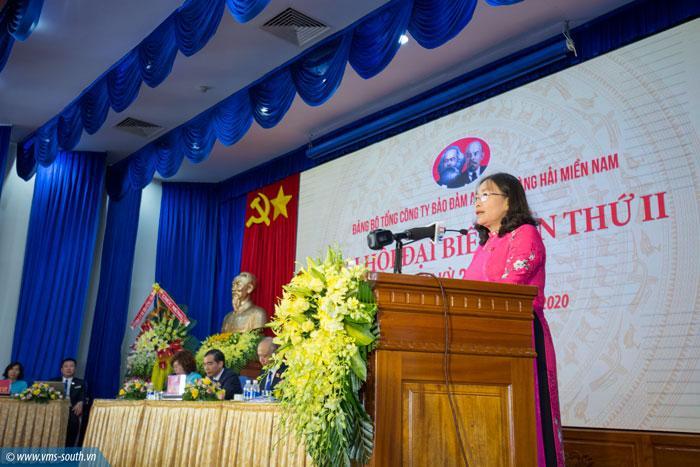 Đồng chí Nguyễn Thị Yến, Phó bí thư TT Tỉnh ủy, Trưởng đoàn đại biểu quốc hội tỉnh BR-VT phát biểu chỉ đạo tại đại hội.