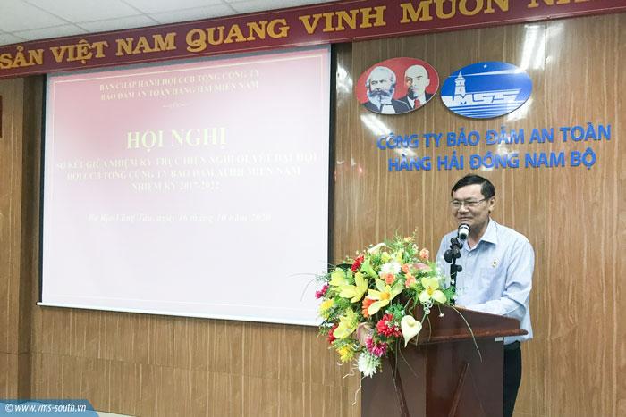 Đồng chí Nguyễn Đình Tiếp – Phó Chủ tịch Hội Cựu chiến binh tỉnh Bà Rịa-Vũng Tàu phát biểu tại Hội nghị